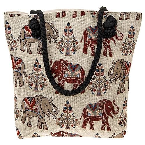 Elephant tote bag cream