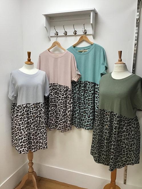 LeopardBottom Button Dress/ Tunic