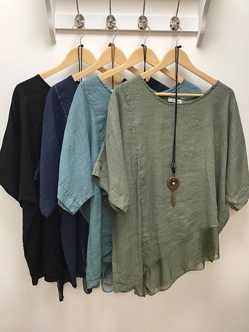 Linen Asymmetric Silk Hem Top