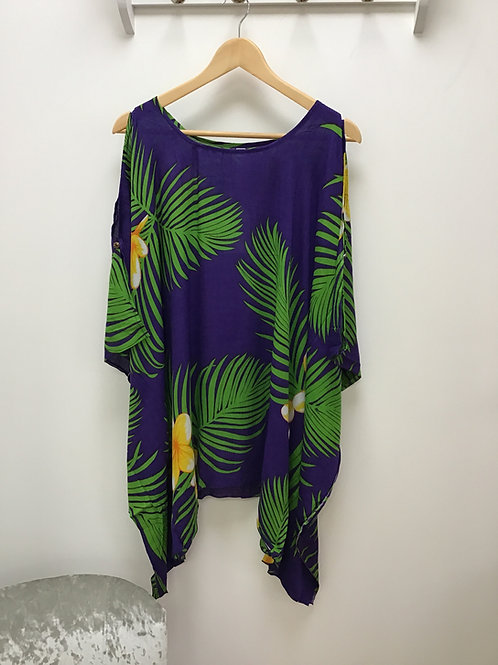 Purple Cold Shoulder Top/ Beach Poncho