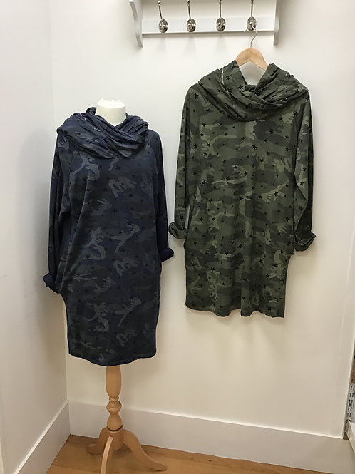 Camouflage Zip Hoodie Tunic