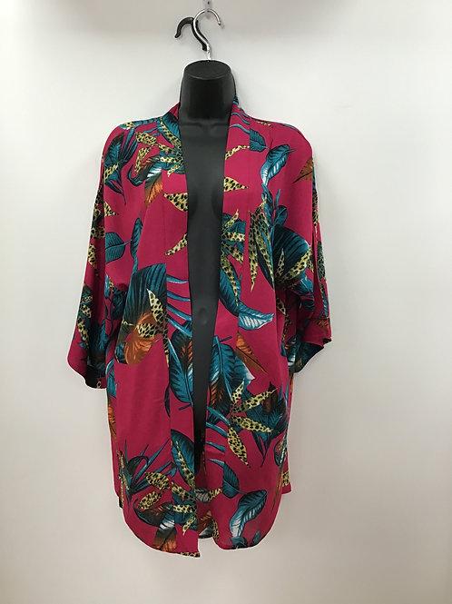 Cerise Pink Tropical Print Kimono