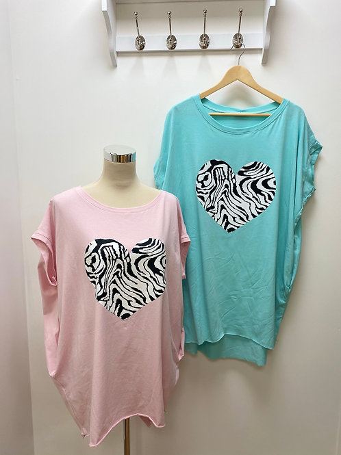 Zebra Print Heart T Shirt