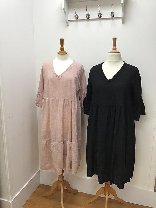 Tiered Linen Mix V Neck Dress
