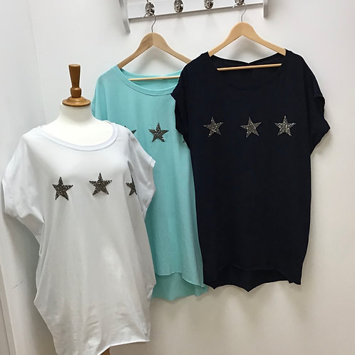 High Low Glitter Star Top With Two Pockets
