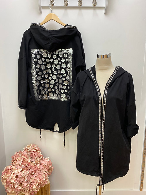 Hooded Jacket With Detailed Back