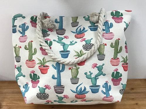 Colourful cactus tote bag