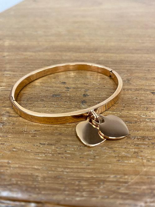 Heart pendant bangle