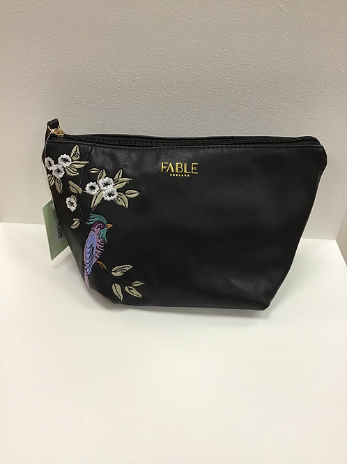 Fable bird embroidered make up bag