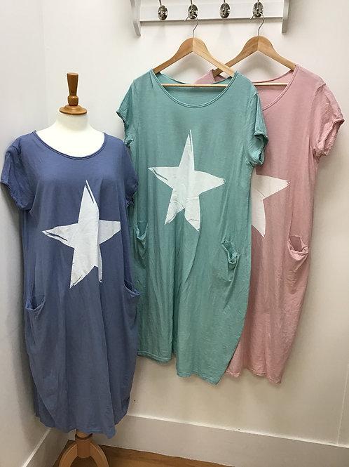 Two Pocket Star T-Shirt Dress
