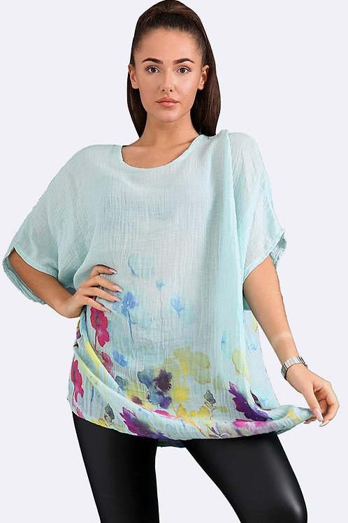 Italian Floral Border Print Tunic Top - Turquoise