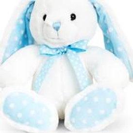 Keel White/Blue Spotty Rabbit Toy