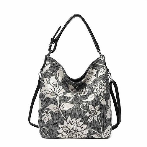 Black Tweed Flower Print Slouch Bag