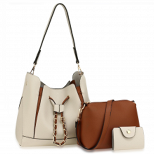 3 Piece Set Fashion Handbags - Beige/Brown