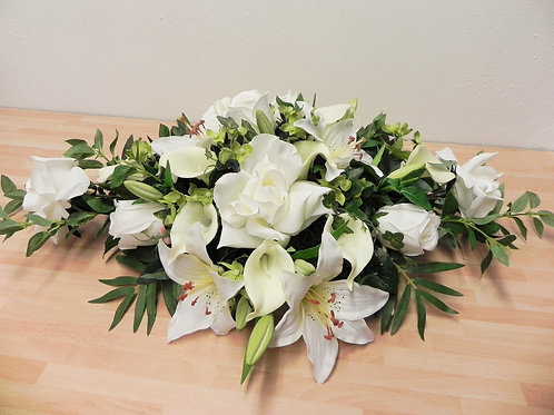 Silk Ivory Rose & Lily Table Arrangement