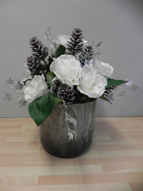 White Rose & Silver Cone Arrangement