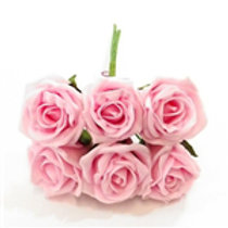 FOAM ROSE BABY PINK BUNCH OF 6