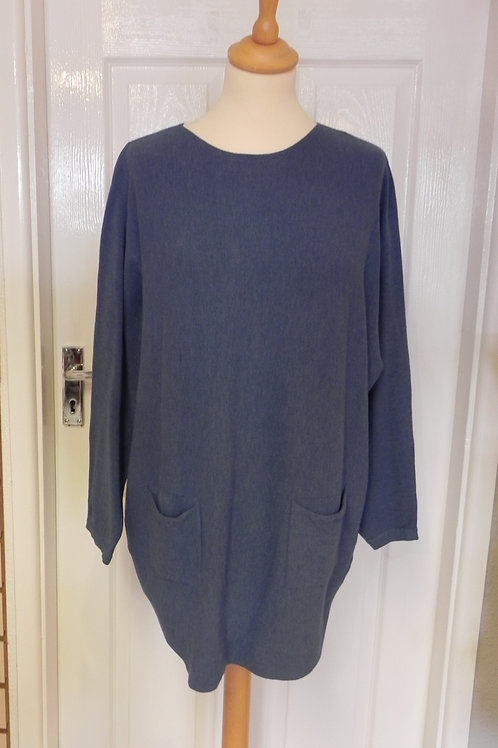 Pearl Button Back Jumper - Navy