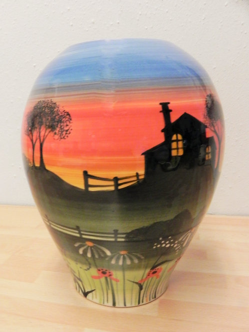 Rachel Frost Pottery Concave Vase - Red Sky at Night