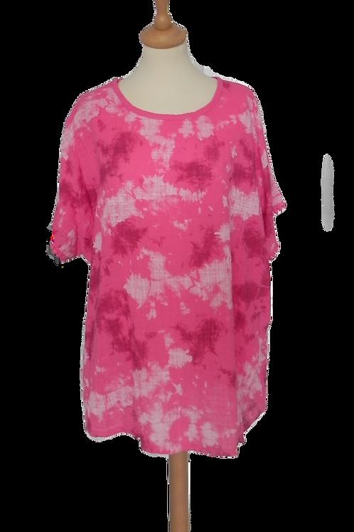 Tie Dye Lace Trim Batwing Top - Cerise