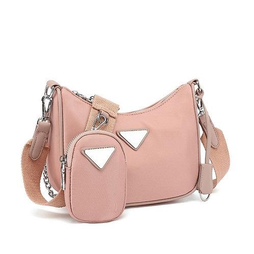 Pink Nylon Cross Body Bag