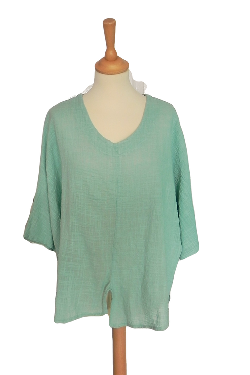 Batwing Top With Front Pocket And Split - Aqua