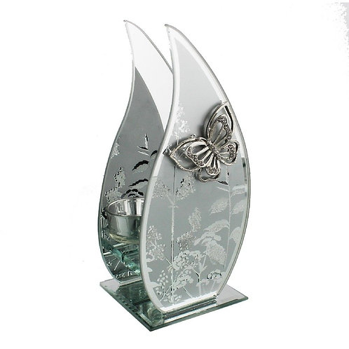 Frosted Glass Butterfly Flame Tealight Holder