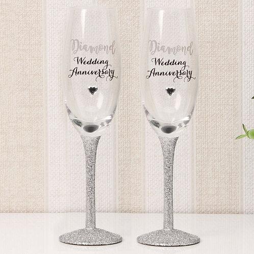 Celebrations Champagne Flutes - Diamond Anniversary