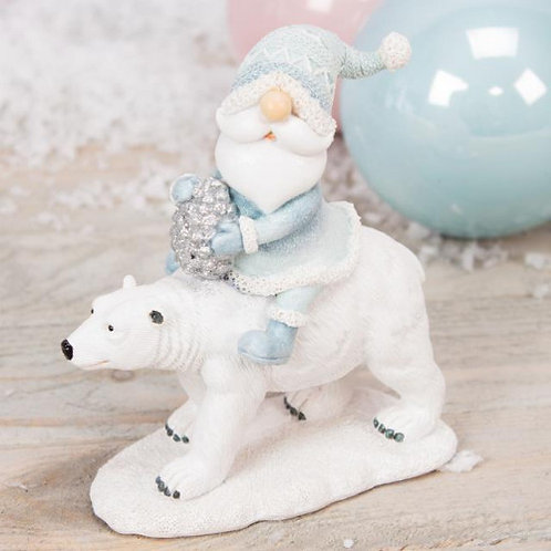 Santa & Polar Bear Figurine