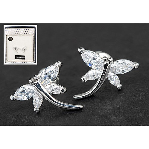 Equilibrium Crystal Dragonfly White Gold Plated Earrings