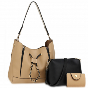 3 Piece Set Fashion Handbags - Nude/Black