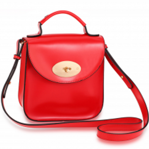 Flap Twist Lock Cross Body Bag - Red