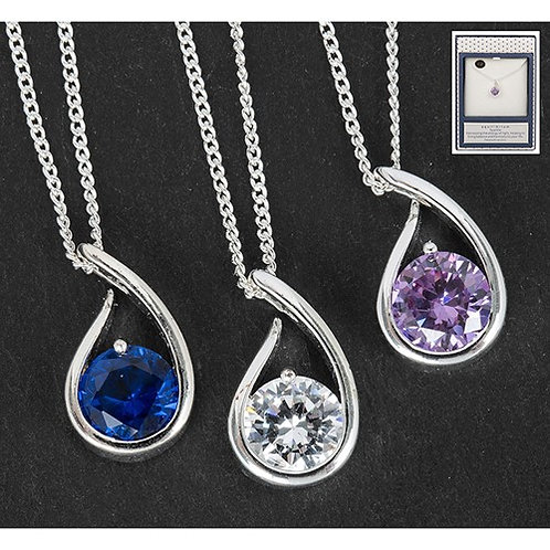 Equilibrium Crystal Collection Silver Plated Open Teardrop Necklace
