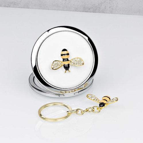 Bumble Bee Compact Mirror & Keyring Set
