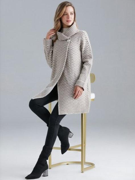 Italian Zig Zag Pattern Wool Mix Wrap Over Knitted Coat - Black
