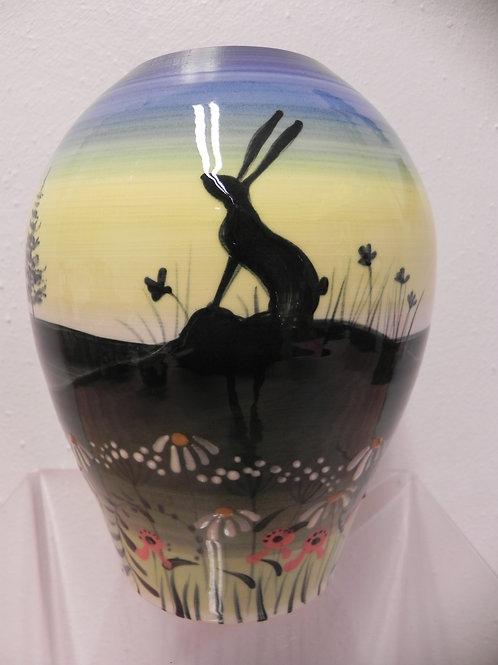 Rachel Frost Pottery Concave Vase Hares Blue
