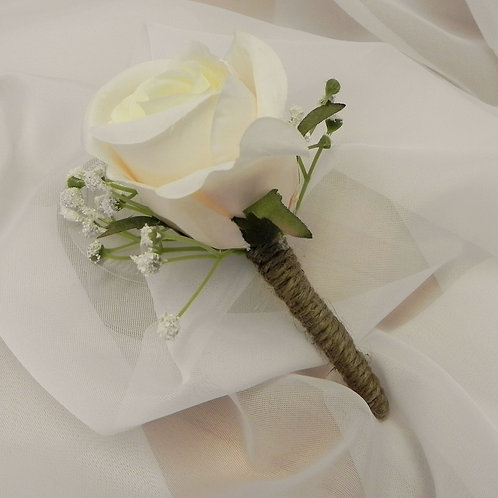 Ivory Buttonhole with Gypsophila