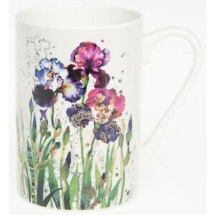 Bug Art Mixed Irises Embossed Fine China Mug