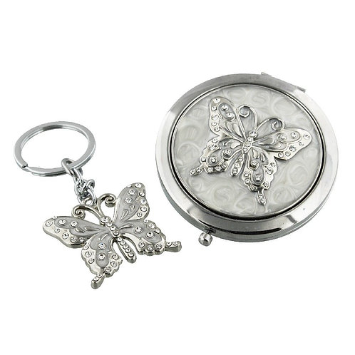Sophia Compact & Keyring Set - Butterfly