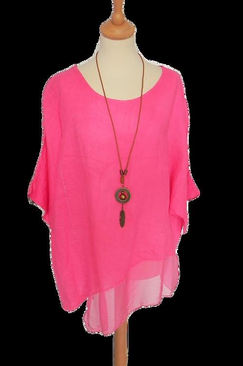 Linen Asymmetric Silk Hem Top With Necklace - Cerise