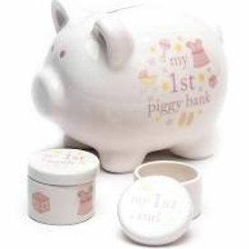 Ceramic Piggy Bank, Tooth & Curl Set - Pink