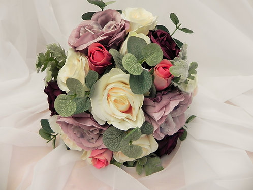 Purple, Lilac & Ivory Rose Bridal Bouquet