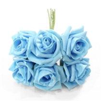 FOAM ROSE PALE BLUE BUNCH OF 6