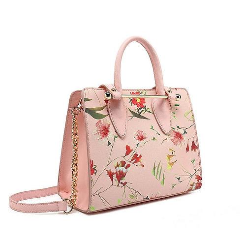 Pink flower print Top Handle bag