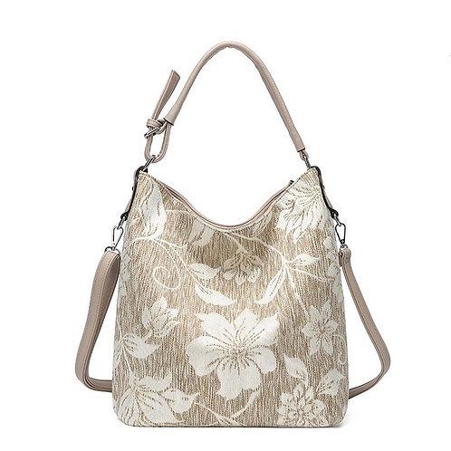 Apricot Tweed Flower Print Slouch Bag