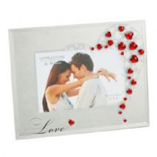 Occasion Gifts - Glass Photo Frame with Crystals 'Love'