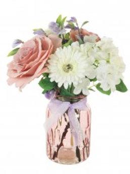 Mixed Rose, Hydrangea & Gerbera Arrangement - Pink/Cream