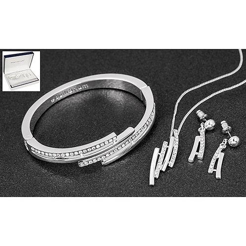 Equilibrium Silver Plate Necklace, Bracelet & Earrings Set