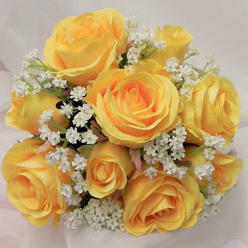 Silk Yellow Rose & Gypsophila Brides Bouquet