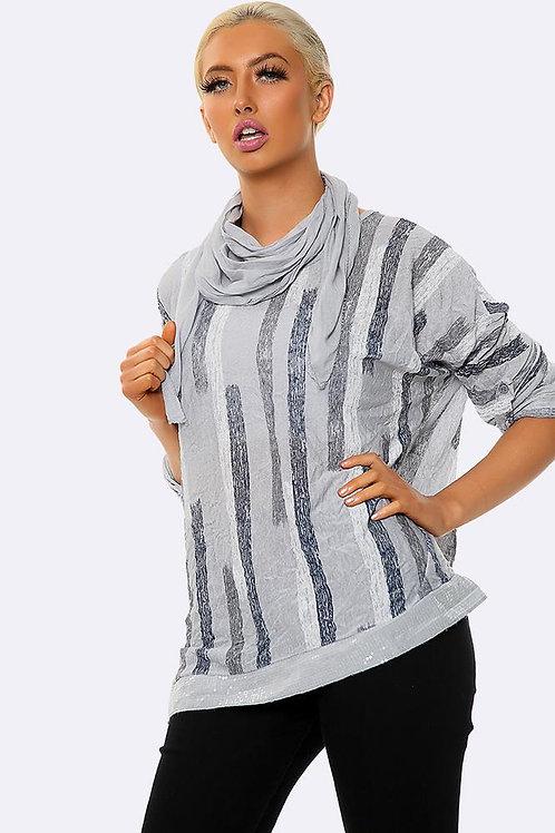 Italian Vertical Stripe Print Top - Grey